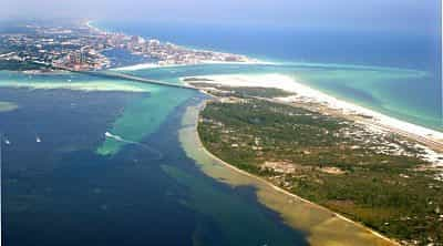 Destin Harbor and Holiday Isle picture from Crab Island