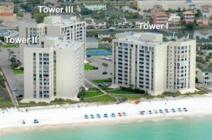Shoreline Towers in Destin has two beachfront condos