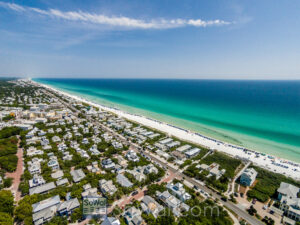 Looking at  30a real estate and the emerald green waters of the Gulf of Mexico.