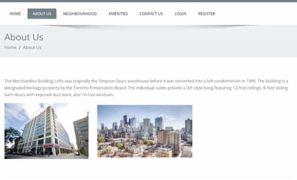 condo community website example